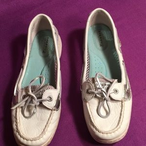 SPERRY Top sisters white silver Sz8.5